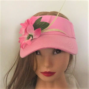 PINK VISOR WITH PINK SILK FLOWERS